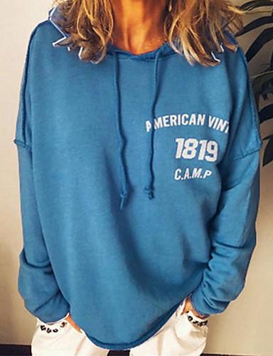billige Gensere og hettegensere til damer-Dame Genser med hette for genser Bokstaver Nummer Fritid Gensere Gensere Bomull Løstsittende Oversized Svart Grå
