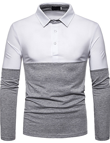 cheap Men's Polos-Men's Color Block Polo Daily White / Red