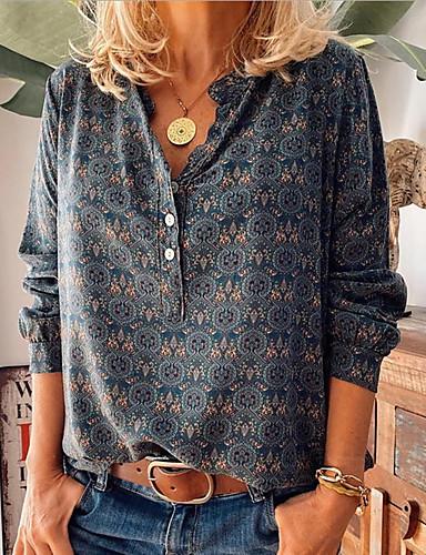 cheap Women's Blouses & Shirts-Women's Blouse Shirt Floral Geometric Long Sleeve Shirt Collar Tops Loose Basic Top Purple Wine Dusty Blue
