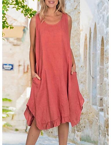 Χαμηλού Κόστους Casual Φορέματα-Γυναικεία Φόρεμα με λεπτή τιράντα Φόρεμα μέχρι το γόνατο - Αμάνικο Συμπαγές Χρώμα Καλοκαίρι Καθημερινό 2020 Ρουμπίνι Κίτρινο Dusty Blue Γκρίζο Τ M L XL XXL XXXL