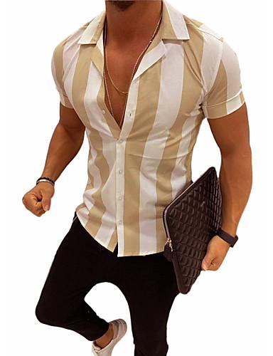 cheap Men's Clothing-Men's Shirt Striped Print Slim Tops Basic Street chic Black Yellow Orange / Short Sleeve
