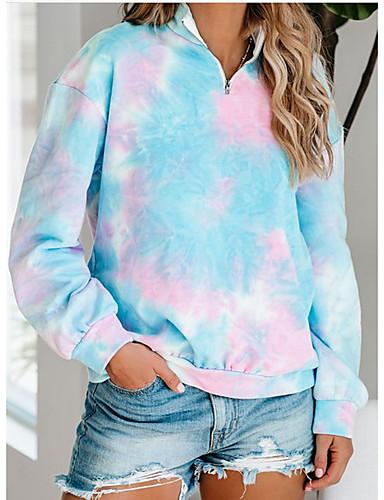 billige Gensere og hettegensere til damer-Dame Genser for genser Batikkfarget Fritid Gensere Gensere Løstsittende Oversized Blå Rosa Lyseblå