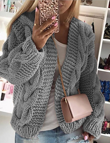 cheap More To Love-Women's Solid Colored Long Sleeve Cardigan Sweater Jumper, Stand Fall / Winter Wine / White / Black S / M / L