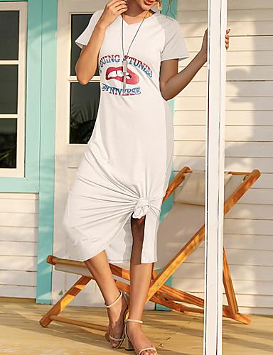 preiswerte Für Junge Frauen-Damen T-Shirt Kleid Maxikleid - Kurzarm Buchstabe Sommer V-Ausschnitt Freizeit 2020 Weiß Schwarz Blau Grün Braun S M L XL XXL