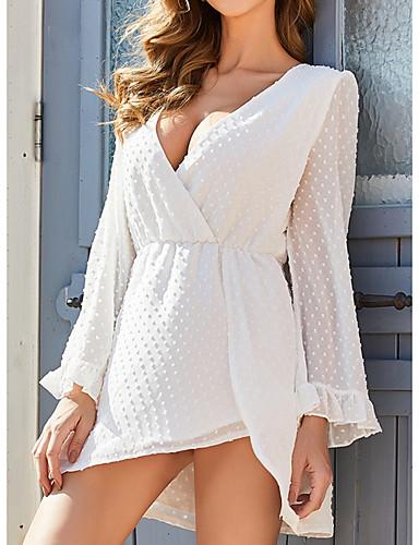 Χαμηλού Κόστους Για νεαρές γυναίκες-Γυναικεία Φόρεμα σε γραμμή Α Φόρεμα μέχρι το γόνατο - Μακρυμάνικο Συμπαγές Χρώμα Καλοκαίρι Λαιμόκοψη V Καθημερινό Σέξι 2020 Λευκό Τ M L XL XXL