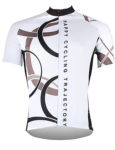 cheap Cycling Jerseys-21Grams Men's Short Sleeve Cycling Jersey Polyester White Yellow Red Bike Jersey Top Mountain Bike MTB Road Bike Cycling Breathable Quick Dry Ultraviolet Resistant Sports Clothing Apparel