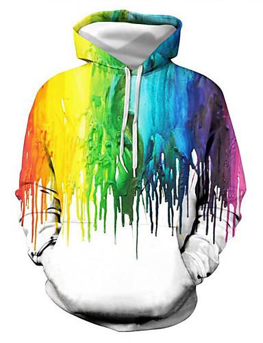 abordables Sweat-shirts Homme-Homme Sweat à capuche Graphique Simple Basique Pulls Capuche Pulls molletonnés Arc-en-ciel