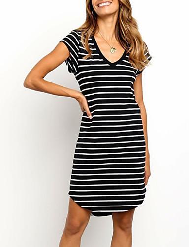 olcso Újdonságok-Női Pólóruha Mini ruha - Rövid ujjú Csíkos Nyár Alkalmi 2020 Fekete S M L XL XXL XXXL