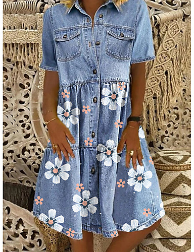 cheap New in Dresses-Women's Denim Shirt Dress Knee Length Dress - Short Sleeves Floral Summer Shirt Collar Casual Daily 2020 Blue M L XL XXL XXXL