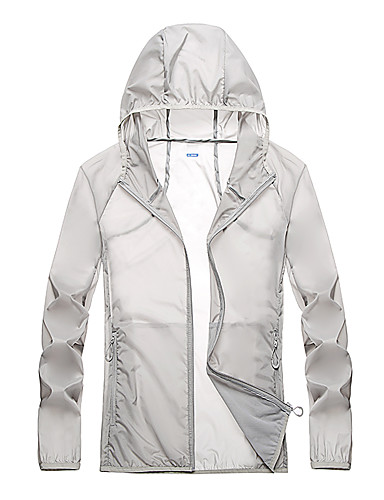 cheap Softshell, Fleece & Hiking Jackets-Men's Hiking Jacket Hiking Windbreaker Summer Outdoor Windproof Sunscreen Breathable Quick Dry Jacket Top Camping / Hiking Fishing Climbing White / Blue / Grey / Light Grey / Dark Navy