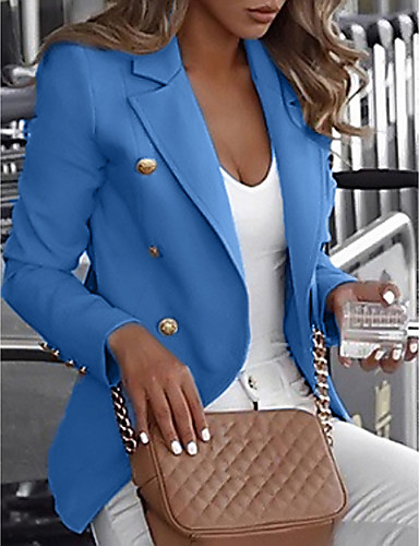 cheap Women's Blazers-Women's Blazer Daily Regular Solid Colored White / Black / Blue S / M / L