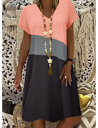 povoljno Summer Dresses-Žene Shift haljina Haljina do koljena - Kratkih rukava Color block Ljeto V izrez Ležerne prilike 2020 Bijela žuta Žutomrk S M L XL XXL XXXL XXXXL XXXXXL