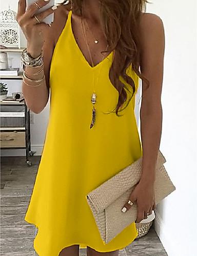 cheap Under USD $9.99-Women's Strap Dress Short Mini Dress - Sleeveless Summer V Neck Sexy Holiday Vacation 2020 White Black Blue Yellow Blushing Pink Light Blue S M L XL XXL XXXL XXXXL XXXXXL
