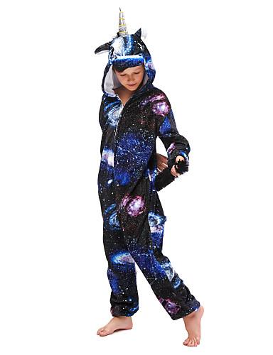 cheap Kigurumi Pajamas-Kid's Kigurumi Pajamas Unicorn Flying Horse Onesie Pajamas Flannel Fabric Ink Blue Cosplay For Boys and Girls Animal Sleepwear Cartoon Festival / Holiday Costumes / Leotard / Onesie