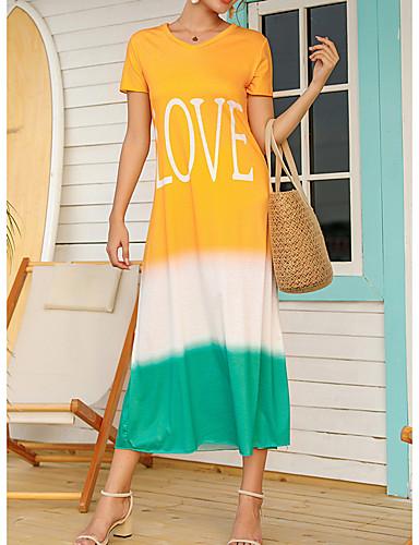 preiswerte Für Junge Frauen-Damen A-Linie Kleid Midikleid - Kurzarm Farbverläufe Buchstabe Sommer Freizeit 2020 Schwarz Blau Rote Gelb Grün Grau S M L XL XXL XXXL XXXXL XXXXXL