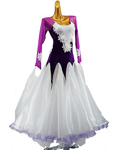 hesapli Latin Dans Giysileri-Latin Dansı Elbise Malzeme Kombini Genç Kız Eğitim Günlük Giyim Uzun Kollu Pamuklu