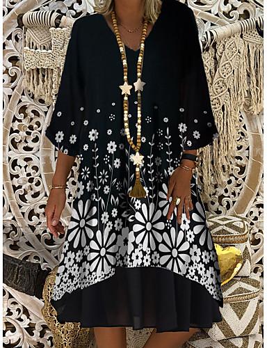 cheap Women's Dresses-Women's Shift Dress Knee Length Dress - 3/4 Length Sleeve Print Plaid / Check Solid Color Print Summer V Neck Casual Daily Loose 2020 Black M L XL XXL XXXL