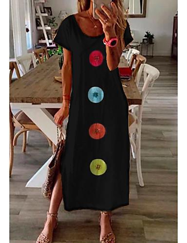 cheap Women's Dresses-Women's Shift Dress Maxi long Dress - Short Sleeve Print Summer Casual Daily 2020 Blue M L XL XXL XXXL