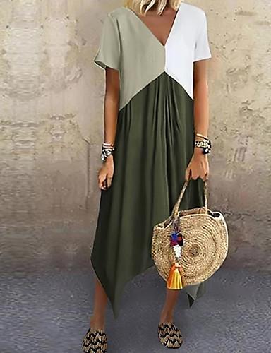 cheap Maxi Dresses-Women's A-Line Dress Midi Dress - Short Sleeve Color Block Color Block Spring & Summer V Neck Stylish Casual Vacation 2020 Red Green Gray Light Blue S M L XL XXL XXXL XXXXL XXXXXL