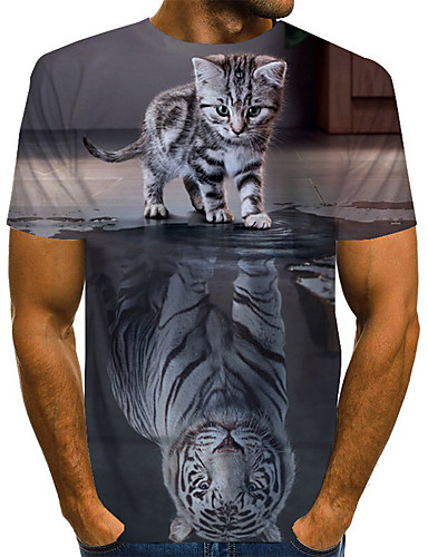 abordables Grandes Tailles Homme-Homme Grandes Tailles Tee-shirt Graphique Animal Imprimé Hauts Basique Exagéré Col Arrondi Arc-en-ciel / Manches Courtes