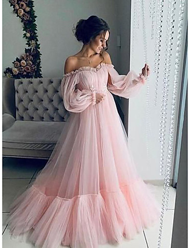 cheap Prom Dresses-A-Line Elegant Minimalist Engagement Prom Dress Off Shoulder Long Sleeve Floor Length Tulle with Pleats Appliques 2020