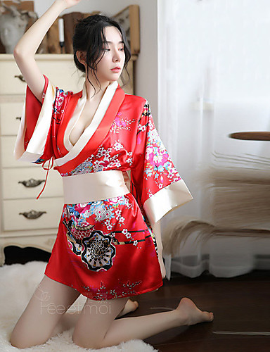 cheap Sexy Costumes-Women's Adults' Sexy Outfits Bowknot Briefs Kimono Coat Waist Belt