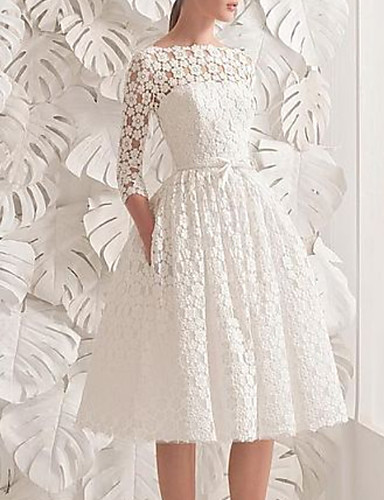 cheap Wedding Dresses-A-Line Wedding Dresses Jewel Neck Knee Length Lace 3/4 Length Sleeve Vintage 1950s with Sashes / Ribbons Appliques 2020
