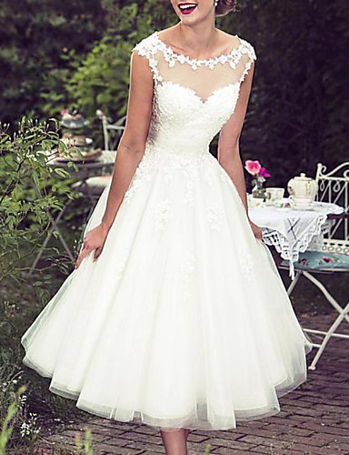 cheap Wedding Dresses-A-Line Wedding Dresses Jewel Neck Knee Length Lace Tulle Sleeveless Vintage 1950s with Appliques 2020