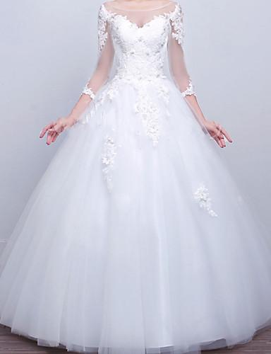 זול שמלות כלה-נשף שמלות חתונה צווארון V שובל סוויפ \ בראש תחרה סאטן טול שרוול ארוך פורמאלי עם אפליקציות 2020