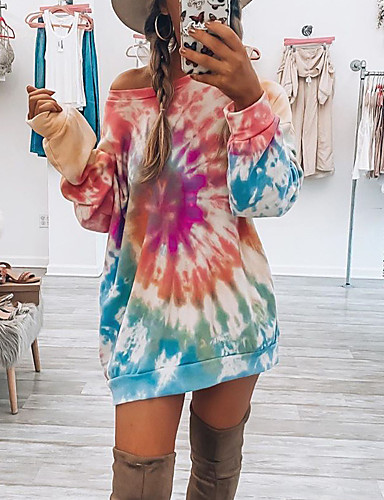 cheap Knee Length Dresses-Women's T Shirt Dress Tee Dress Knee Length Dress - Long Sleeve Print Print Summer Casual Daily Loose 2020 Purple Red Green S M L XL