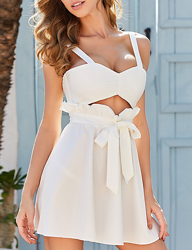 cheap For Young Women-Women's Strap Dress Short Mini Dress - Sleeveless Solid Color Summer Sexy 2020 White S M L XL XXL