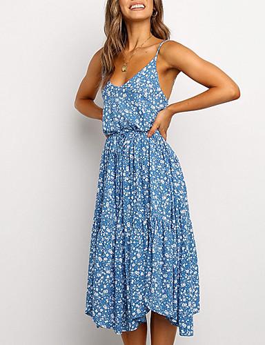 olcso Újdonságok-Női A vonalú ruha Midi ruha - Ujjatlan Virágos Nyár V-alakú Szexi 2020 Medence Lóhere S M L XL XXL
