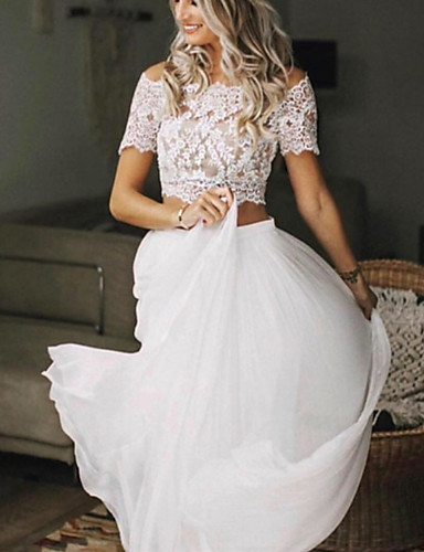 cheap Wedding Dresses-Two Piece Wedding Dresses Jewel Neck Sweep / Brush Train Chiffon Lace Short Sleeve Beach Boho Sexy See-Through with Pleats 2020