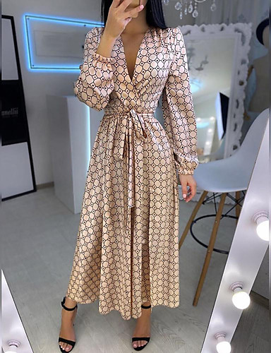 cheap Print Dresses-Women's Swing Dress Maxi long Dress - Long Sleeve Geometric Patchwork Print Spring Summer V Neck Casual Daily Lantern Sleeve Loose 2020 Gold S M L XL XXL