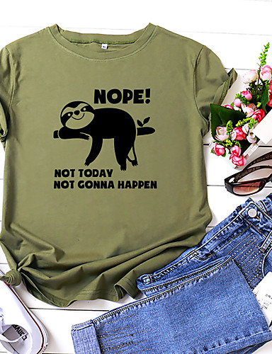 cheap Women's Clothing-Women's T shirt Graphic Text Letter Print Round Neck Tops 100% Cotton Basic Basic Top White Yellow Blushing Pink