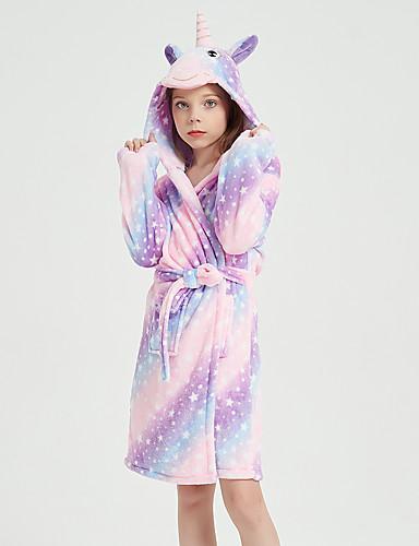 cheap Kigurumi Pajamas-Kid's Kigurumi Pajamas Bathrobe Oodie Unicorn Flying Horse Onesie Pajamas Flannel Fabric Purple Cosplay For Boys and Girls Animal Sleepwear Cartoon Festival / Holiday Costumes / Bath Robe