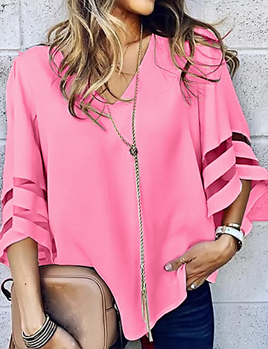 cheap Bestseller on Sale-Women's Solid Colored Loose Blouse Daily V Neck Wine / White / Black / Blue / Red / Yellow / Blushing Pink / Fuchsia