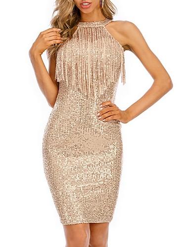 cheap Print Dresses-Women's Sheath Dress Knee Length Dress - Sleeveless Solid Color Print Summer Sexy Daily Slim 2020 Black Blushing Pink Gold Gray S M L XL XXL