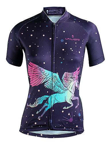 cheap Cycling-ILPALADINO Women's Short Sleeve Cycling Jersey Polyester Purple Cartoon Bike Jersey Top Triathlon UV Resistant Breathable Reflective Strips Sports Clothing Apparel / Back Pocket