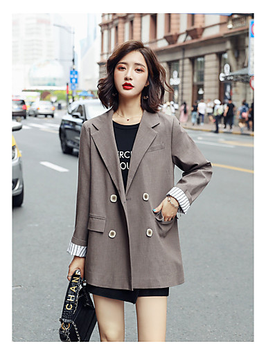 cheap Women's Blazers-Women's Blazer Notch lapel collar Solid Colored Yellow / Brown / Black S / M / L
