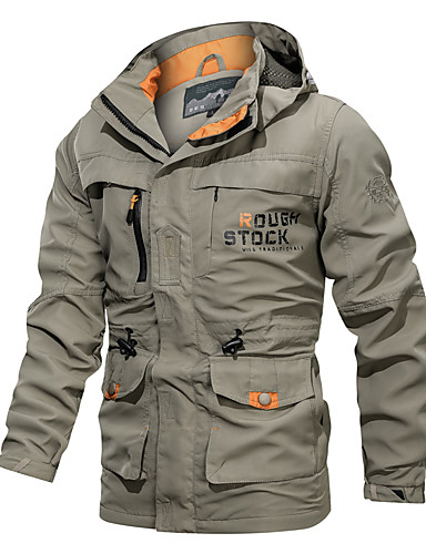 cheap Softshell, Fleece & Hiking Jackets-Men's Hiking Jacket Military Tactical Jacket Winter Outdoor Thermal Warm Waterproof Lightweight Windproof Jacket Top Camping / Hiking Hunting Fishing Army Green / Blue / Khaki / Breathable / Casual