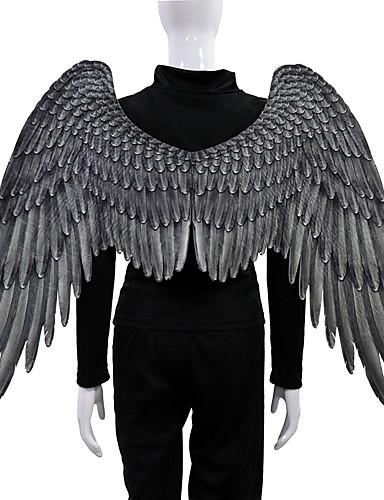 cheap Men's & Women's Halloween Costumes-Angel Wings Cloak Adults' Men's Cosplay Halloween Halloween Festival / Holiday Nonwoven White / Black Men's Women's Easy Carnival Costumes