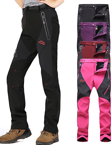 cheap Hiking Trousers & Shorts-Women's Hiking Pants Softshell Pants Winter Outdoor Thermal / Warm Waterproof Windproof Breathable Softshell Pants / Trousers Bottoms Red black Black Purple Rose Red Camping / Hiking Hunting Fishing