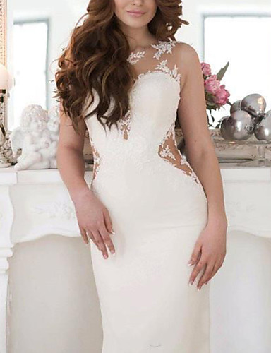 cheap Wedding Dresses-Mermaid / Trumpet Wedding Dresses V Neck Court Train Lace Jersey Sleeveless Country with Bow(s) 2020