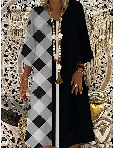 cheap Women's Dresses-Women's Shift Dress Midi Dress - 3/4 Length Sleeve Color Block Patchwork Summer Casual Daily 2020 Black M L XL XXL XXXL