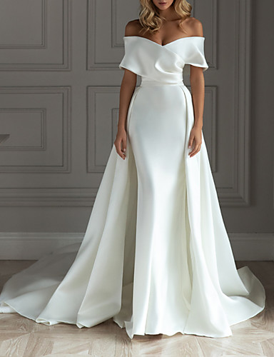cheap Wedding Dresses-A-Line Wedding Dresses Off Shoulder Court Train Detachable Satin Short Sleeve Simple with 2020