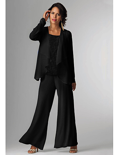 cheap Mother of the Bride Dresses-Pantsuit / Jumpsuit Mother of the Bride Dress Elegant Plus Size Bateau Neck Floor Length Chiffon Sleeveless with Beading 2020 Mother of the groom dresses