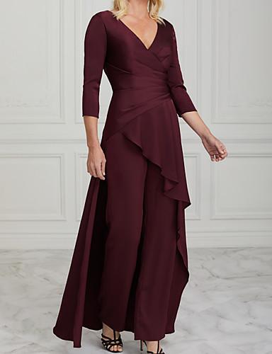 billige Kjoler til brudens mor-Todelt Pantsuit Kjole til brudens mor Elegant V-hals Gulvlang Charmeuse Halvlange ermer med Drapert Ruchiing 2020