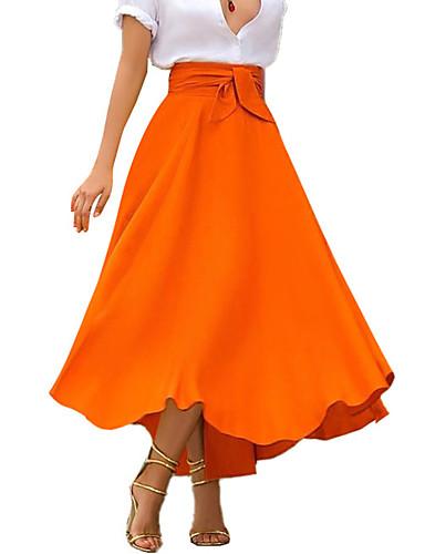 cheap Women's Skirts-Women's Daily Wear Basic Bohemian Maxi Dress Midi Swing Skirts Solid Colored Bow