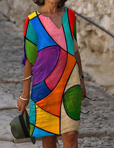 povoljno Novo u ponudi-Žene Shift haljina Haljina do koljena - Rukava do lakta Color block Print Ljeto Jesen V izrez Ležerne prilike Dnevno Širok kroj 2020 Duga M L XL XXL 3XL